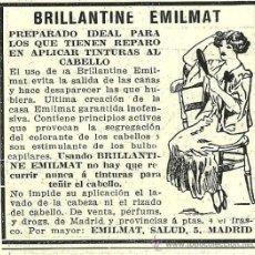 Coleccionismo de Revistas y Periódicos: PUBLICIDAD BRILLANTINA EMILMAT - 1916. Lote 29566956