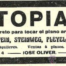 Coleccionismo de Revistas y Periódicos: PUBLICIDAD AUTOPIANO - 1916. Lote 29566962