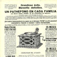 Coleccionismo de Revistas y Periódicos: PUBLICIDAD PATHEFONO - 1916. Lote 29726079