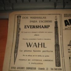 Coleccionismo de Revistas y Periódicos: PUBLICIDAD VARIADA PLUMA EVERSHARP.LA ELECTRICIDAD SABADELL HOJA DE REVISTA NUEVO MUNDO 1921. Lote 29756267
