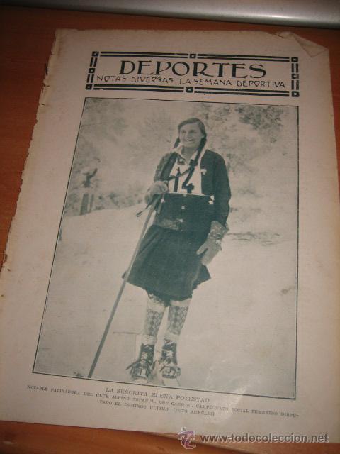 ELENA POTESTAD PATINADORA DEL CLUB ALPINO ESPAÑOL HOJA DE REVISTA BLANCO Y NEGRO 1928 (Coleccionismo - Revistas y Periódicos Modernos (a partir de 1.940) - Otros)