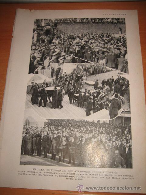 MELILLA ENTIERRO DE LOS AVIADORES CAULA Y TAULER TRIPULANTES HOJA DE REVISTA BLANCO Y NEGRO 1929 (Coleccionismo - Revistas y Periódicos Modernos (a partir de 1.940) - Otros)