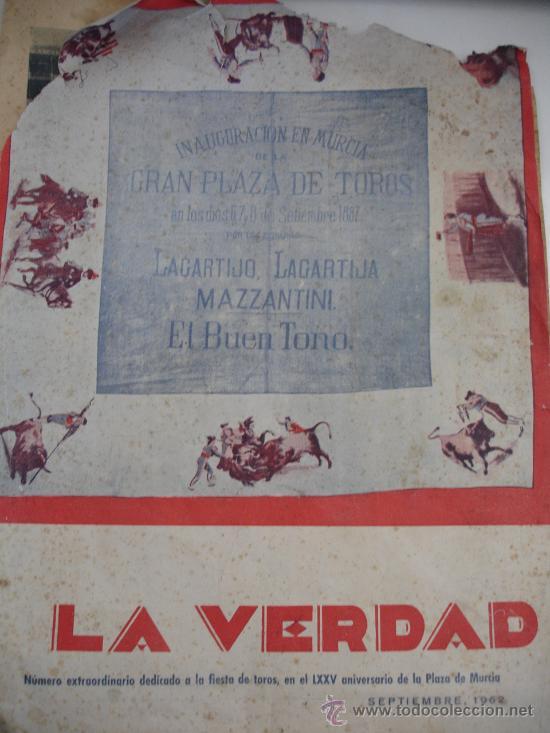 PERIÓDICO LA VERDAD ESPECIAL TOROS MURCIA 1962 (Coleccionismo - Revistas y Periódicos Modernos (a partir de 1.940) - Otros)