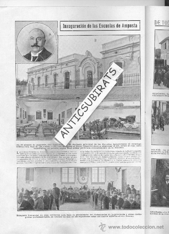 REVISTA.AÑO 1912.INAUGURACION ESCUELAS AMPOSTA.FERROCARRIL DE LARACHE.BOMBEROS DE JAPON.LOYOLA.TREN. (Coleccionismo - Revistas y Periódicos Antiguos (hasta 1.939))