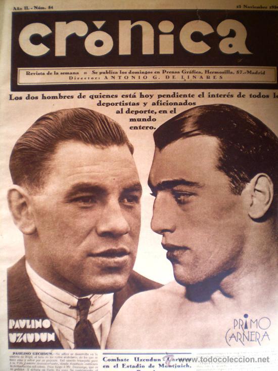REVISTA CRÓNICA AÑO 1930 BARCELONA MADRID HUELGA GENERAL-BOXEO-CICLISMO VER FOTOS (Coleccionismo - Revistas y Periódicos Antiguos (hasta 1.939))