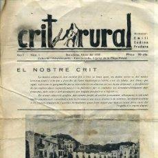 Coleccionismo de Revistas y Periódicos: CRIT RURAL ANY I Nº 1 (FEBRER 1935). Lote 30320820