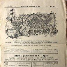 Coleccionismo de Revistas y Periódicos: BERGA PERIODICO EL TAGAST CASTELLAR DEL RIU 1 ENERO 1901 VER FOTOS. Lote 30339051