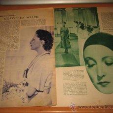 Coleccionismo de Revistas y Periódicos: ACTRIZ DOROTHEA WIECK 2 HOJAS REVISTA BLANCO Y NEGRO 1934. Lote 30397573