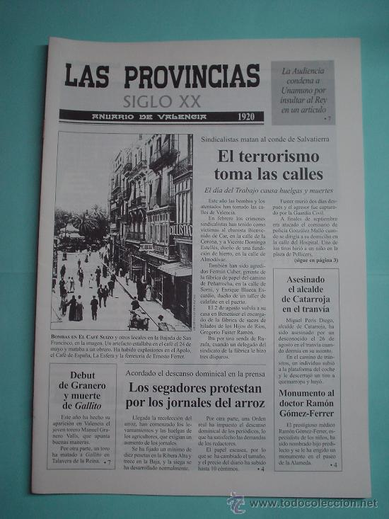 PERIÓDICO. LAS PROVINCIAS SIGLO XX. ANUARIO DE VALENCIA. 1920-1921. DIARIO (Coleccionismo - Revistas y Periódicos Modernos (a partir de 1.940) - Otros)