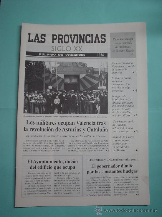 LAS PROVINCIAS SIGLO XX. ANUARIO DE VALENCIA. 1934 -1935. ANURIA. DIARIO. PERIÓDICO. (Coleccionismo - Revistas y Periódicos Modernos (a partir de 1.940) - Otros)