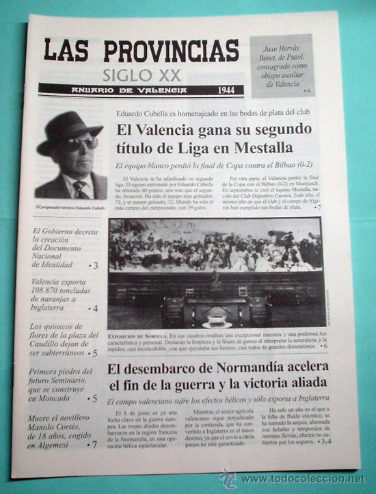 LAS PROVINCIAS SIGLO XX. ANUARIO DE VALENCIA. 1944 -1945. DIARIO. PERIÓDICO (Coleccionismo - Revistas y Periódicos Modernos (a partir de 1.940) - Otros)