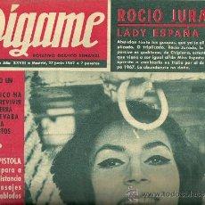 Coleccionismo de Revistas y Periódicos: REVISTA DIGAME Nº 1434 DEL 27 DE JUNIO DE 1967 PORTADA ROCIO JURADO. Lote 30555568
