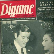 Coleccionismo de Revistas y Periódicos: LUISA ORTEGA REVISTA DIGAME Nº 1.400 DEL 1 DE NOVIEMBRE DE 1966 PORTADA LOLA FLORES Y MARTY COSENS. Lote 30574265