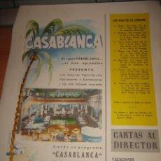 Coleccionismo de Revistas y Periódicos: CASABLANCA PRESENTA LOS MEJORES ESPECTACULOS NACIONALES Y EXTRANJHOJA DE REVISTA BLANCO Y NEGRO 1957. Lote 30740334