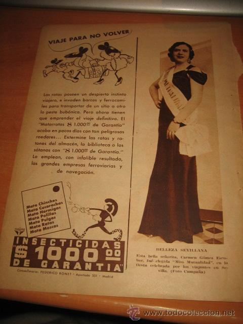 BELLEZA SEVILLANA MISS MUTUALIDAD CARMEN GOMEZ ESCOBAR.HOJA DE REVISTA BLANCO Y NEGRO (Coleccionismo - Revistas y Periódicos Modernos (a partir de 1.940) - Otros)
