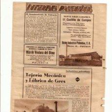 Coleccionismo de Revistas y Periódicos: RECORTE PUBLICIDAD.AÑOS 30.PALENCIA.CERAMICA.EL CASTILLO DE CAMPOS.TEJERIA MECANICA.FABRICA DE GRES.. Lote 30801808