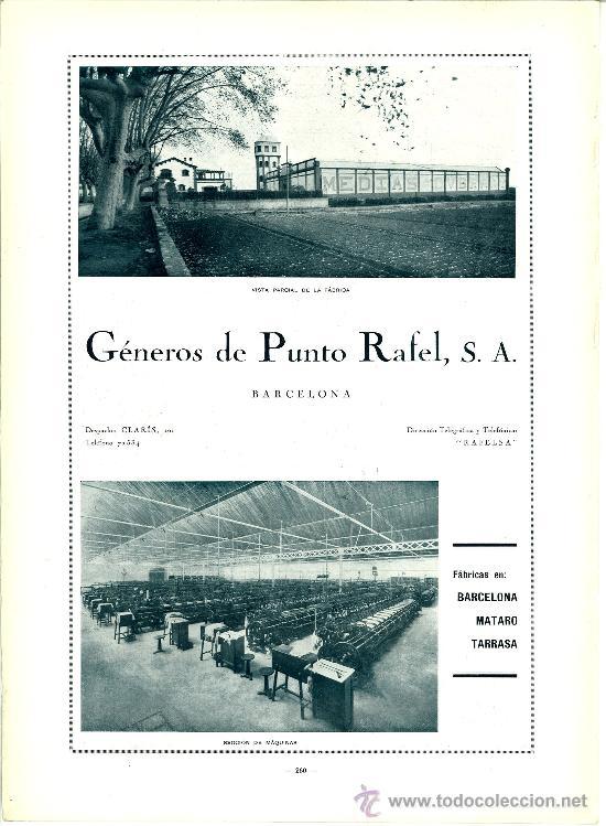 ANUNCIO FABRICA GENEROS DE PUNTO RAFEL SA BARCELONA. TEXTIL PUBLICIDAD. 1928 (Coleccionismo - Revistas y Periódicos Modernos (a partir de 1.940) - Otros)