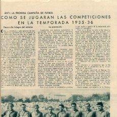 Coleccionismo de Revistas y Periódicos: FUTBOL 1935 NUEVA TEMPORADA OSASUNA Y HERCULES ALICANTE 2 HOJAS REVISTA. Lote 30869427