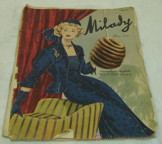 FIGURIN DE MODA MILADY-HIVERN 1950-NRO.69 - PUBLICACIONES MUNDIAL BARCELONA MEDIDAS 38*27 CMS. (Coleccionismo - Revistas y Periódicos Modernos (a partir de 1.940) - Otros)