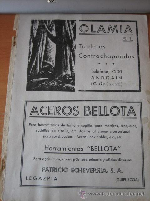 Coleccionismo de Revistas y Periódicos: PUBLICIDAD FIRESTONE.ACEROS BELLOTA LEGAZPIA.OLAMA ANDOAIN HOJA REVISTA GEOGRAFIA ESPAÑOLA - Foto 2 - 30982962