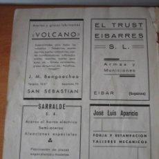 Coleccionismo de Revistas y Periódicos: PUBLICIDAD EL TRUST EIBARRES EIBAR SARRALDE ZUMARRAGA VOLCANO SAN SE HOJA REVISTA GEOGRAFIA ESPAÑOLA. Lote 30983192