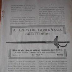 Coleccionismo de Revistas y Periódicos: PUBLICIDAD F.AGUSTIN LARRAÑAGA FABRICA DE GRABADOS EIBAR HOJA REVISTA GEOGRAFIA ESPAÑOLA. Lote 30983203