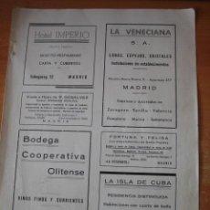 Coleccionismo de Revistas y Periódicos: PUBLICIDAD COOPERATIVA OLITENSE OLITE NAVARRA.LA VENECIANA MADRID.LA HOJA REVISTA GEOGRAFIA ESPAÑOLA. Lote 30983447