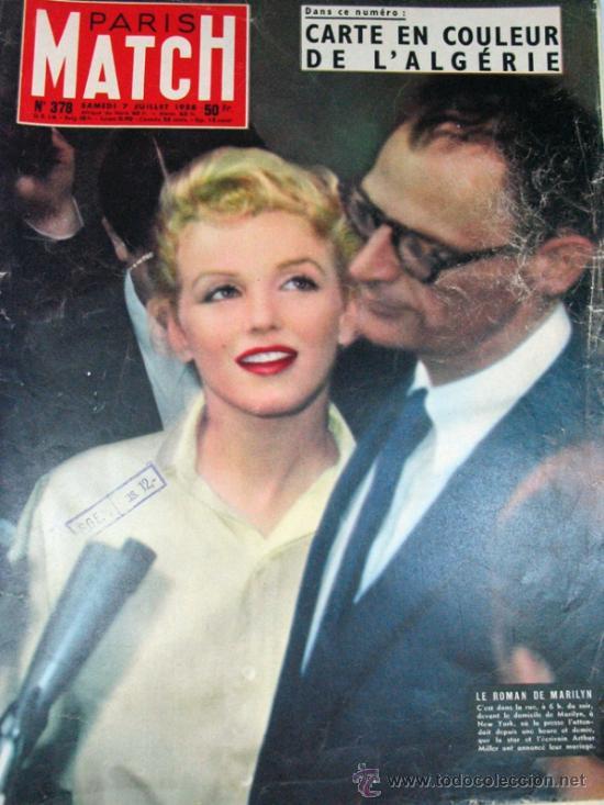 PARIS MATCH. 1956 MARILYN MONROE MATRIMONIO. FRED ASTAIRE Y AUDREY HEPBURN. ORIGINAL DE EPOCA (Coleccionismo - Revistas y Periódicos Modernos (a partir de 1.940) - Otros)