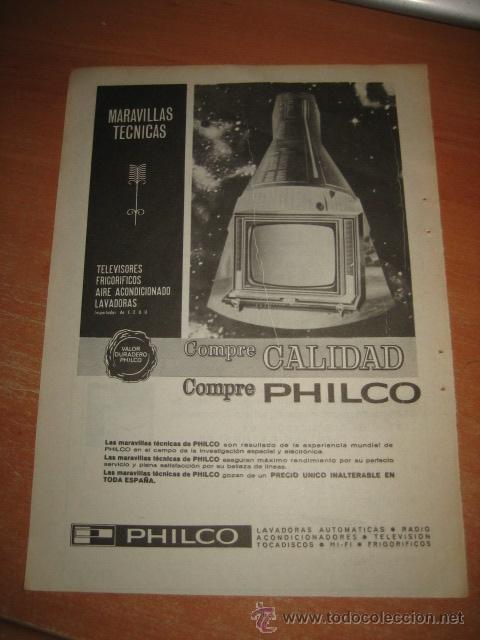 PUBLICIDAD PHILCO TELEVISORES,FRIGORIFICOS,LAVADORAS HOJA DE REVISTA SELECCIONES READERS 1966 (Coleccionismo - Revistas y Periódicos Modernos (a partir de 1.940) - Otros)