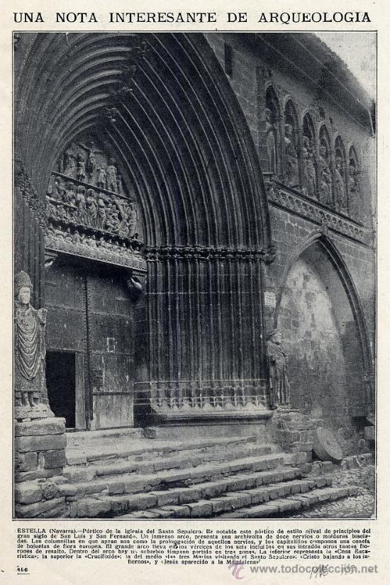 ESTELLA 1916 NAVARRA SANTO SEPULCRO IGLESIA HOJA REVISTA (Coleccionismo - Revistas y Periódicos Modernos (a partir de 1.940) - Otros)