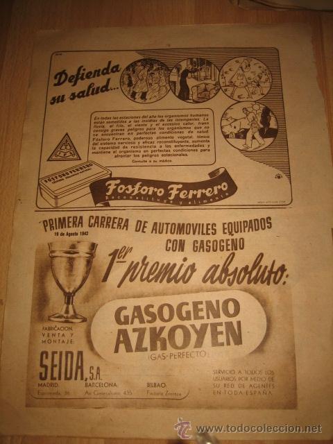 PUBLICIDAD FOSFORO FERRERO/GASOGENO AZKOYEN HOJA DE REVISTA FOTOS 1942 (Coleccionismo - Revistas y Periódicos Modernos (a partir de 1.940) - Otros)