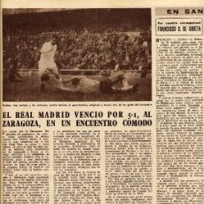 Coleccionismo de Revistas y Periódicos: FUTBOL 1960 MADRID-ZARAGOZA HOJA REVISTA. Lote 31288844