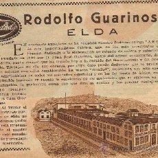 Coleccionismo de Revistas y Periódicos: * ELDA, ALICANTE * PUBLICIDAD FÁBRICA DE D. RODOLFO GUARINOS - 1932. Lote 119153236