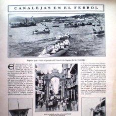 Coleccionismo de Revistas y Periódicos: HOJA DE REVISTA DE 1908 CANALEJAS EN EL FERROL . Lote 31977069