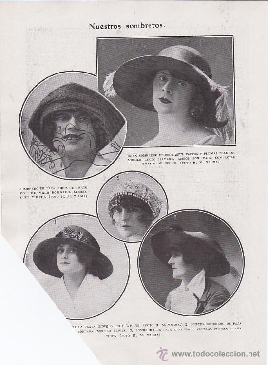 SOMBREROS DE MUJER. MODA AÑOS VEINTE. 1920. (Coleccionismo - Revistas y Periódicos Antiguos (hasta 1.939))