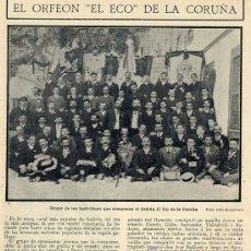 Coleccionismo de Revistas y Periódicos: LA CORUÑA 1908 ORFEON EL ECO HOJA REVISTA. Lote 194522163