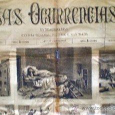 Coleccionismo de Revistas y Periódicos: MADRID JULIO 1883.-LAS OCURRENCIAS- EXTRAORDINARIAS. 1 HOJA, 2 PÁGINAS MODELO GRANDE 70 X 51 CM. . Lote 32442228