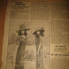 Coleccionismo de Revistas y Periódicos: ULTIMAS CREACIONES DE LA MODA INGLESA EN TRAJES DE PASEO HOJA REVISTA NUEVO MUNDO 1910. Lote 33076216