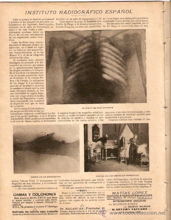 Coleccionismo de Revistas y Periódicos: AÑO1899.MADRID MONUMENTAL.2 DE MAYO.FERIA DE SEVILLA.RONDA DE SEGOVIA.INSTITUTO RADIOGRAFICO ESPAÑOL - Foto 4 - 33086642
