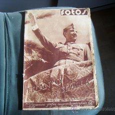 Coleccionismo de Revistas y Periódicos: REVISTA FOTOS, SEMANARIO GRAF. NAC. SINDICALISTA, S. SEBASTIAN 29 04 1939.FRANCO VIAJE SEVILLA Y MAS. Lote 33291198