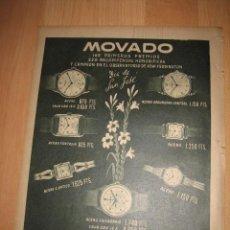 Coleccionismo de Revistas y Periódicos: PUBLICIDAD RELOJES MOVADO HOJA REVISTA ABC 1949. Lote 33512862