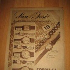 Coleccionismo de Revistas y Periódicos: PUBLICIDAD RELOJES COPPEL HOJA REVISTA ABC 1949. Lote 33512900