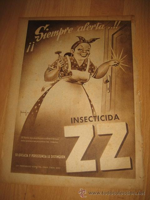 PUBLICIDAD INSECTICIDA ZZ HOJA REVISTA ABC 1949 (Coleccionismo - Revistas y Periódicos Modernos (a partir de 1.940) - Otros)