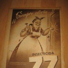 Coleccionismo de Revistas y Periódicos: PUBLICIDAD INSECTICIDA ZZ HOJA REVISTA ABC 1949. Lote 33517952