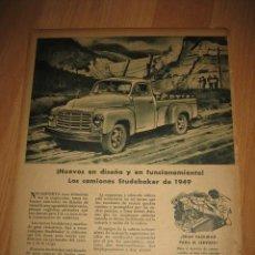 Coleccionismo de Revistas y Periódicos: PUBLICIDAD CAMIONES STUDEBAKER DE 1949 HOJA REVISTA ABC 1949. Lote 33527596