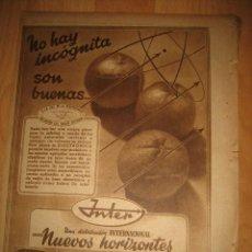 Coleccionismo de Revistas y Periódicos: PUBLICIDAD RADIO INTER HOJA REVISTA ABC 1949. Lote 33527694