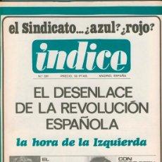 Coleccionismo de Revistas y Periódicos: REVISTA ÍNDICE. 11 NÚMEROS (1967 -1974) MÁS SEPARATA.. Lote 33707244