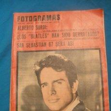 Coleccionismo de Revistas y Periódicos: ANTIGUA REVISTA FOTOGRAMAS.AÑO 1967.SAN SEBASTIAN 67 SERA ASI ,ALBERTO SORDI,ETC.. Lote 33987661