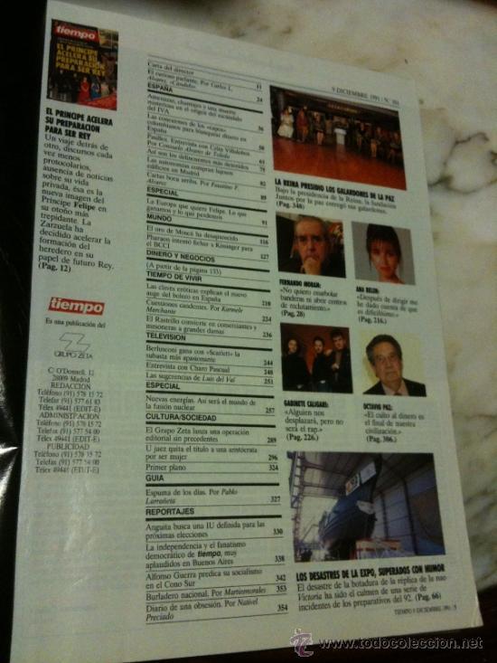 Coleccionismo de Revistas y Periódicos: tiempo Nº501 9-julio-1991 EL PRINCIPE ACELERA SU PREPARACIÓN PARA SER REY-ANA BELÉN-386 PAGINAS - Foto 2 - 34679286