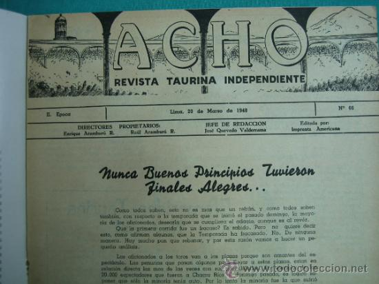 Coleccionismo de Revistas y Periódicos: Revista Americana Taurina Independiente ACHO Lima (Perú) Marzo 1948. N 66 - Foto 2 - 34637031